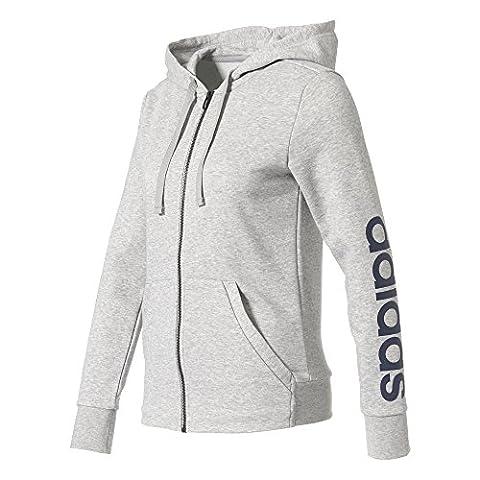 adidas Damen Essentials Linear Hoody, Medium Grey Heather, XS
