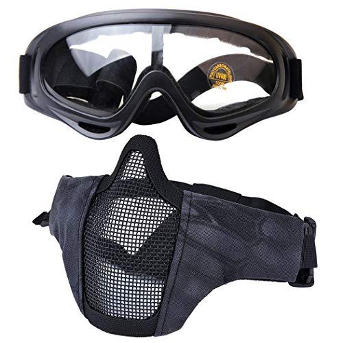 Kapmore Airsoft Maske, Mesh Gesicht Schädel Maske Airsoft Halbmaske Ausrüstung Stahl Airsoft Masken (Goggle + Mask (Black))