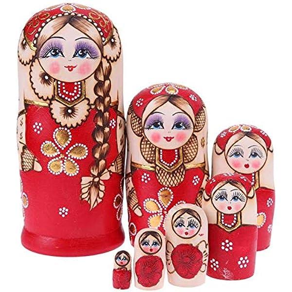 Matryoshka motivo: gatto in legno russo 5 pezzi Bambole di nidificazione in legno