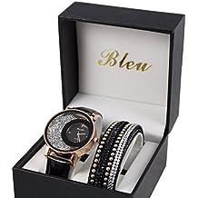 Coffret reloj mujer dorado piel negro brillantes + pulsera doble Tour Stardust Dolce Vita