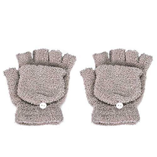 STZHIJIA Frauen Hand Handgelenk Wärmeren Winter Fingerlose Handschuhe Handschuh Winter Frauen Handschuhe Halben Finger Flip Fäustlinge E