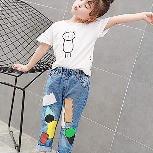 Mode Kinder Kleidung Multicolor Patch Lange Hosen Kleine Mädchen Komfortable Elastische Tägliche Freizeitkleidung Kinder Lose Hosen (Multicolor) BCVBFGCXVB -