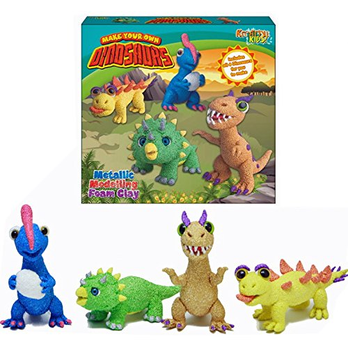 BARGAINS-GALORE MAKE YOUR OWN DINOSAURS METALLIC MODELLING DOUGH KIDS 4 IN 1 SET FOAM CLAY NEW