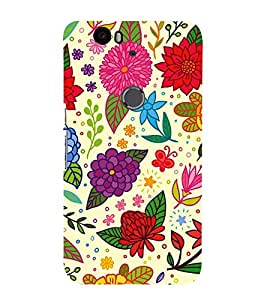Fiobs Designer Back Case Cover for Huawei Nexus 6P :: Huawei Google Nexus 6P (Flowers Stars Leaves Patterns Cool)