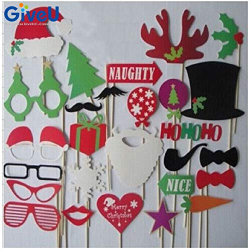 HITSAN INCORPORATION GiveU 27pcs/lot Fun Christmas Decoration Photo Booth Props DIY Christmas Photobooth Props Photo Accessories Event Party Supplies