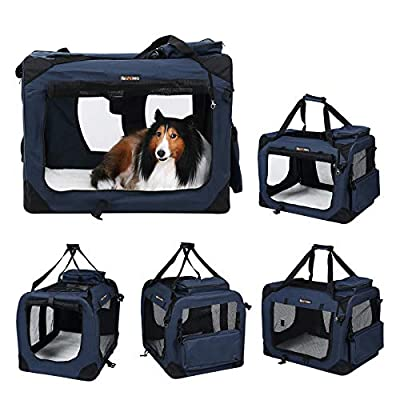 FEANDREA Dog Carrier Folding Fabric Pet Carrier Lightweight Pet Cage Bag Pet Car Seat Pet Booster Seat Dark Blue by FEANDREA
