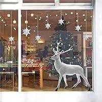 UMIPUBO Weihnachten Aufkleber Fenster Dekoration Weißer großer Elch Fensteraufkleber Schneeflocke Fensterbild PVC Entfernbarer Elektrostatischer Aufkleber Weihnachtssticker (Weihnachten)