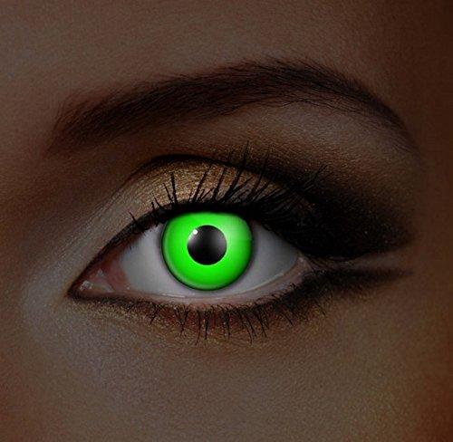 Funky Vision Kontaktlinsen I-Glow - 3 Monatslinsen, Green UV, Ohne Sehstärke, 1 Stück