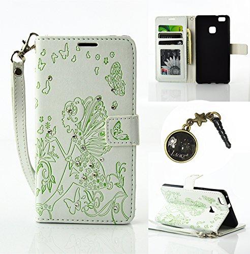 Preisvergleich Produktbild für Smartphone P9 Lite Hülle,Hochwertige Kunst-Leder-Hülle mit Magnetverschluss Flip Cover Tasche Leder [Kartenfächer] Schutzhülle Lederbrieftasche Executive Design +Staubstecker (8AA)