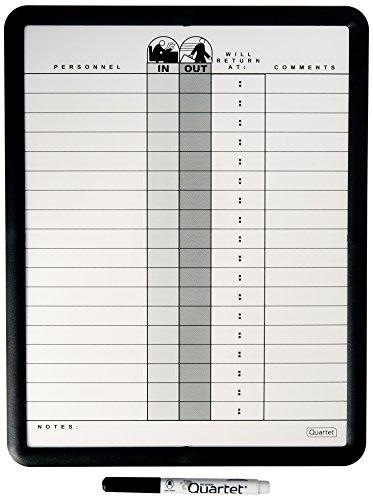 Employee In/Out Board, Porcelain, 11 x 14, Gray, Black Aluminum Frame (14x14 Bulletin Board)