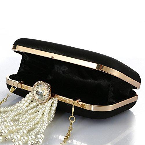 Quaste Perle Abendessenbeutel Der Neuen Damen Strass Abendkleid Bag Bankett Tasche Black