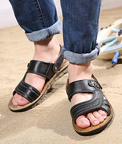 Icegrey Herren Leder Mode Sandalen Geschlossene Freizeit Hausschuhe Outdoor Sommer Strand Pantolette Schwarz