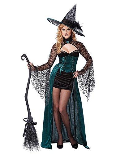 e Hexe Damenkostüm Halloween Schwarz-Grün S (Bezaubernd Hexe Erwachsene Kostüme)