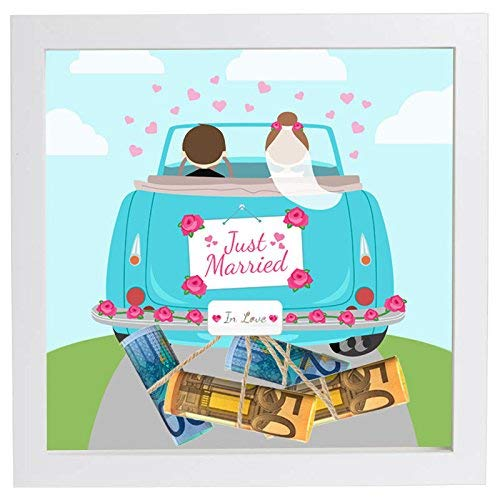 luvthings Hochzeitsgeschenk Geldgeschenk Bilderrahmen mit Motiv - Hochzeit Geschenk (Kordel, Auto V Just Married)