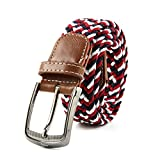 AllRight Ceintures pour Hommes Elastique avec Boucle Couverte pour Jeans Rouge Noir et Blanc