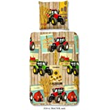 Aminata Kids - coole Jungen-Kinder-Bettwäsche 135x200 roter Traktor Bauernhof Bauer Jungen-&-Mädchen-Bettwäsche-Kinder Baumwolle Reißverschluss