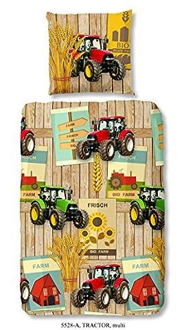 Aminata Kids - coole Jungen-Kinder-Bettwäsche 135x200 roter Traktor Bauernhof Bauer Jungen-&-Mädchen-Bettwäsche-Kinder Baumwolle