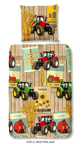 Aminata Kids - coole Jungen-Kinder-Bettwäsche 135x200 roter Traktor Bauernhof Bauer Jungen-&-Mädchen-Bettwäsche-Kinder Baumwolle (Für Teenager Kostüme Schwein)