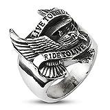 Autiga Live to Ride - Ride to Live Biker Ring Adler Flügel Herren Männer Edelstahl silber 75 - Ø 23,83 mm