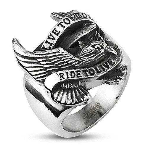 Autiga Live to Ride - Ride to Live Biker Ring Adler Flügel Herren Männer Edelstahl silber 75 - Ø 23,83 mm (Biker Ringe)