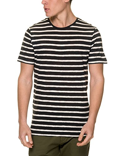 Jack & Jones Men's Men's White Striped T-Shirt Cotton Navy