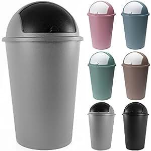 Poubelle corbeille 50 litres Push Can Gris Argent - couvercle basculant - 68X 40cm - Maison cuisine déchets