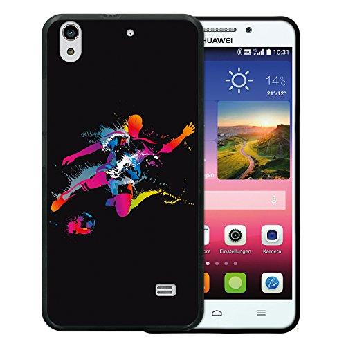 WoowCase Huawei Ascend G620S Hülle, Handyhülle Silikon für [ Huawei Ascend G620S ] Fußballspieler mit Fußball Schwarz Handytasche Handy Cover Case Schutzhülle Flexible TPU - Schwarz