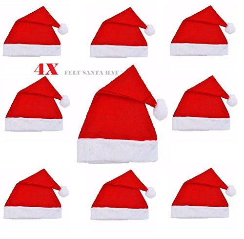 4X Adult Red Felt Christmas Santa Hat Xmas Ladies Men's Unisex Fancy Dress Accessory
