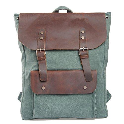 Eysee Rucksack Herren Canvas mit Leder-Vintage Unitasche Studententasche Schultasche Reisetasche -