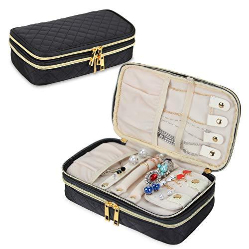 kasten, Gesteppte Doppelschicht Schmuck Reiseetui mit Fächern, Halskettenhalter, Ohrringe-Panel und Ringhalter, schwarz ()