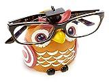 by-Bers porta occhiali gufo UHU, arancione, dipinto a mano, divertente, per bambini e junggebliebene adulti