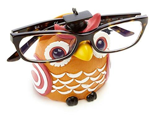 By-Bers Brillenhalter Uhu Eule Kautz handbemalt, lustig, für Kinder und Junggebliebene, EIN schönes Designstück aus Polyresin (orange)