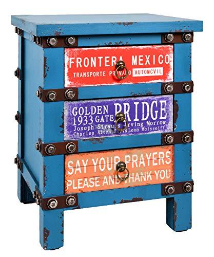 ts-ideen Kommode Schrank Nachttisch Container Industrie Design Shabby Blau Optik Vintage -