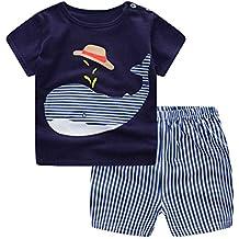 GOTTING 2pcs del ragazzo della neonata del fumetto Top Pantaloni corti in cotone manica corta T-shirt Abiti Set balena Blu 90cm