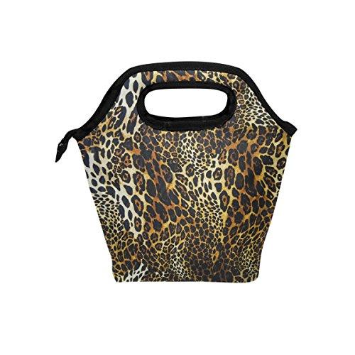 coosun Leopard Haut Hintergrund Lunch Tasche Isolierte Thermo Kühler Lunch Bag Wasserdichte Neopren Lunch Handtaschen Tote mit Reißverschluss für Outdoor-Reise Picknick -