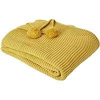 Dreamscene - Manta de Punto Grueso, Mostaza, Color Amarillo Oscuro, tamaño Grande,