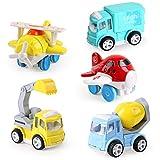 Giochi di Veicoli ,Camion Giocattolo Macchine ,1 Scavatrice, 1 Truck,1 Betoniera,2 Aereo Regalo per Bambino