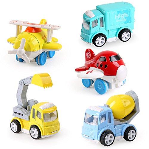 BeebeeRun Spielzeug Auto für Kinder,Baufahrzeuge Kinder ab Jahre Spielzeugauto Metall Set,1 Bagger, 1 Zementmischer, 1 Fracht-LKW, 2 Flugzeug, Spielzeug Kinder Mädchen Jungen