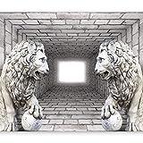 murando - Fototapete 350x256 cm - Vlies Tapete - Moderne Wanddeko - Design Tapete - Wandtapete - Wand Dekoration - Ziegel Mauer Löwe 3D Tunnel d-A-0036-a-b