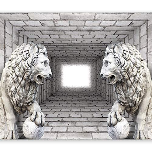 *murando – Fototapete 400×280 cm – Vlies Tapete – Moderne Wanddeko – Design Tapete – Wandtapete – Wand Dekoration – Ziegel Mauer Löwe 3D Tunnel d-A-0036-a-b*