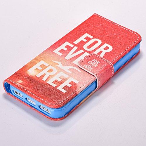 iPhone SE 5 5S Coque,Cozy Hut Apple iPhone SE 5 5S Chat mignon de bande dessinée Motif Clapet Case avec Fonction de debout et fentes pour cartes, haut de gamme PU Cuir Magnétique Portefeuille Housse é mouette