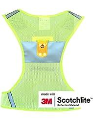 Salzmann 3m Scotchlite Alta visibilidad chaleco reflectante para con cinta de correr corredores SET Chaleco + cinta de correr, Fluo amarillo