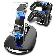 Cargador Mandos PS4,Musou Estación de carga rápida con LED para mandos 2 en 1 para PS4| Cargador de control doble / Cargador / Estación de acoplamiento / Estación de carga doble con bloque de alimentación