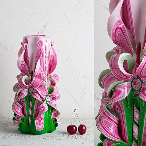 Machen Sie Ihre eigenen geschnitzten Kerzen - Sommer-Geschenk - rosa Kerze - grüne Kerze - handgemachte EveCandles (Kerze Säule-platte)