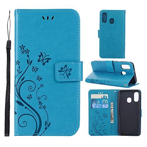 HUDDU Handyhülle Kompatibel mit Samsung Galaxy A40 Hülle Leder Wallet Schutzhülle Schmetterling 3 Kartenfächer Brieftasche Magnetverschluss Filp Tasche PU Ständer Lederhülle Blau