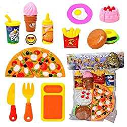 Cute Kids Cooking Fast Food Pizza Burger Set Play Set