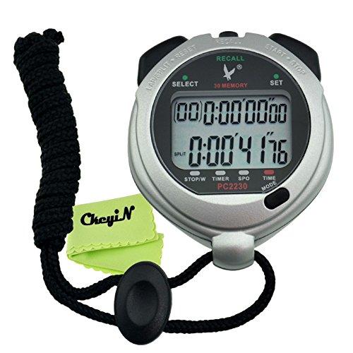 Ckeyin ® Cronometro Cronografo Timer Digitale per Sport Palestra, 30 (Doppio Tempo Cronografo)