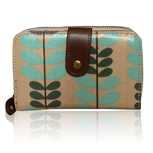 - 51byDpkKopL - LADIES DESIGNER SMALL OILCLOTH OWL/LEAF/HORSE/POLKA DOT PURSE WALLET (Light Blue-Leaf)