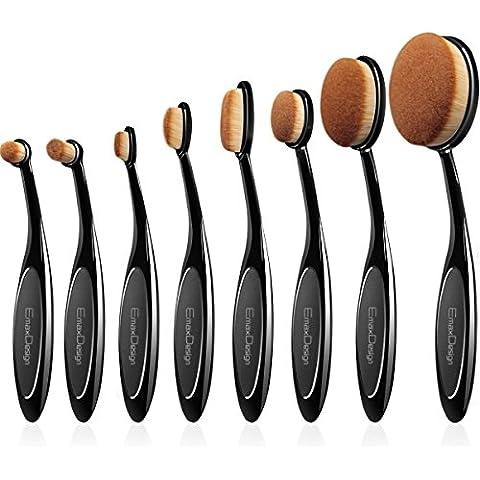 EmaxDesign ovalada Juego de brochas de maquillaje, 8pcs Profesional Fundación Corrector Blending Blush líquido Polvo Crema cosméticos cepillos dientes, Curve Maquillaje Herramientas para cara y