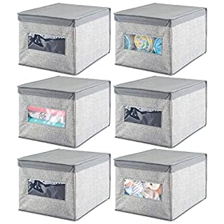 mDesign boîte de Rangement en Fibres synthétiques Respirables (Lot de 6) - Panier de Rangement idéal pour l'organisation de l'armoire et Table à Langer - bac de Rangement avec Couvercle - Gris